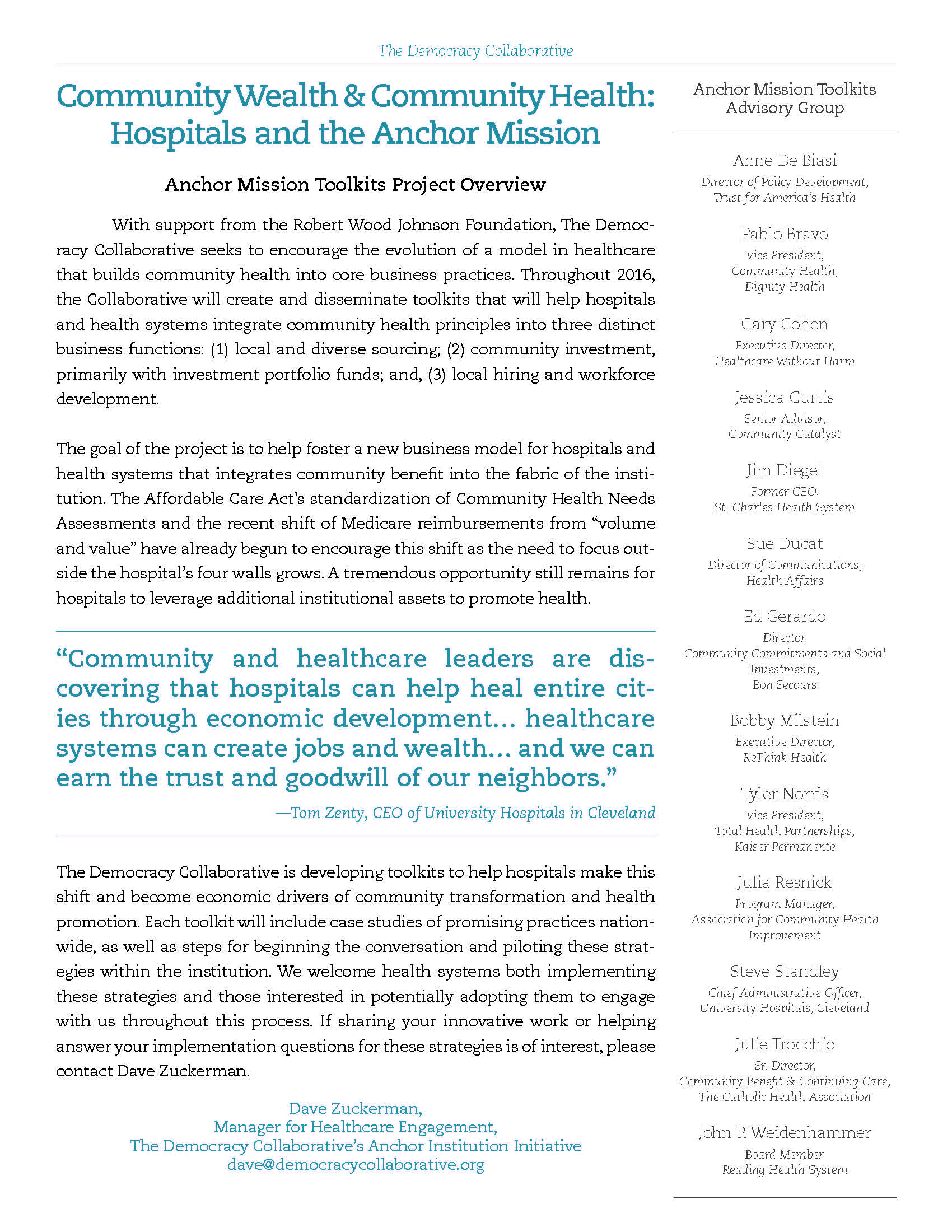 Toolkit: Community Wealth and Community Health: Hospitals